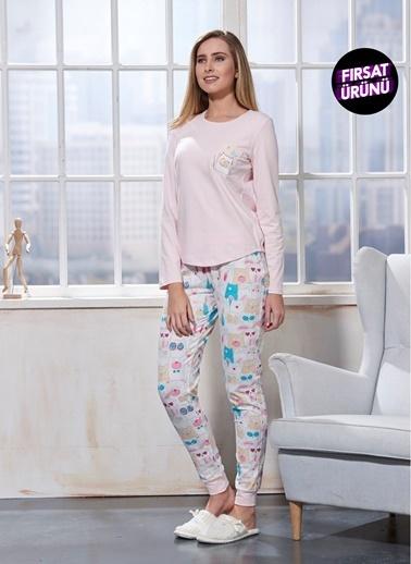 Sevim Baskılı Pijama Takım Pembe